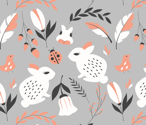 Bunnies and flowers 007 fabric by bluelela on Spoonflower - custom fabric