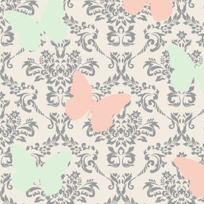 Muted Butterfly Damask