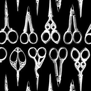 Antique Scissors on Black - Vertical
