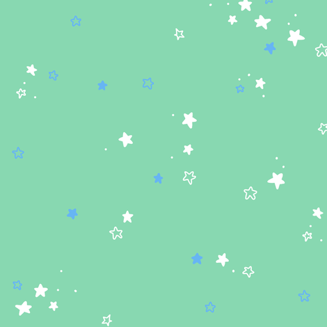 Stars in teal and blue fabric by lburleighdesigns on Spoonflower - custom fabric