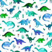 Tiny Dinos in Blue and Green on White Small Print
