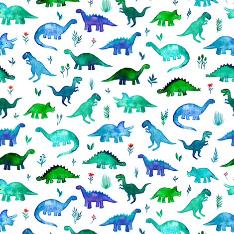Tiny Dinos in Blue and Green on White Small Print fabric by micklyn on Spoonflower - custom fabric