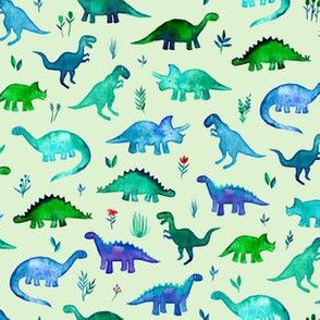 Tiny Dinos on light mint green Small Print