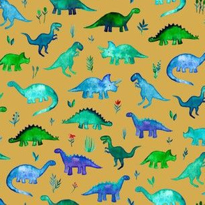 Tiny Dinos in Blue and Green on Mustard Small Print