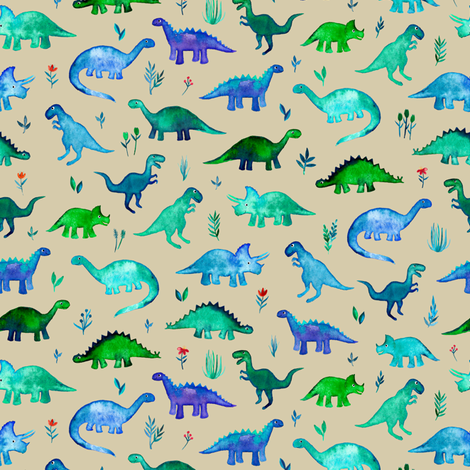 Tiny Dinos in Blue and Green on Tan Small Print fabric by micklyn on Spoonflower - custom fabric