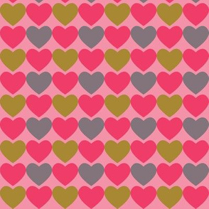 Pink, Gray & Green Hearts