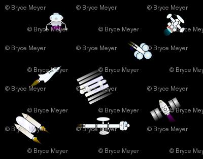 Rocket Ship Pattern on black