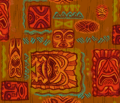 Tiki Family Brown fabric by woodyworld on Spoonflower - custom fabric