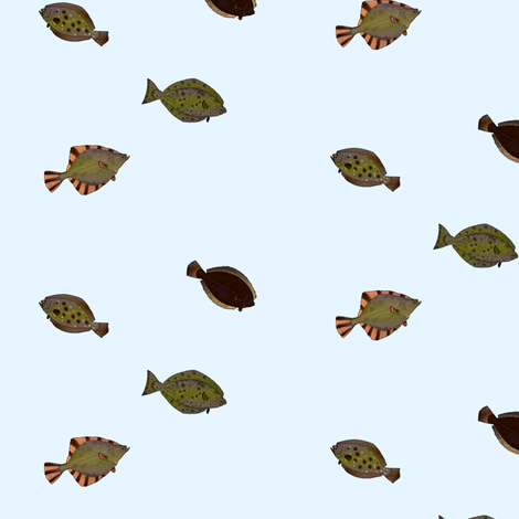 Flounder and Halibut fish sparse fabric by combatfish on Spoonflower - custom fabric
