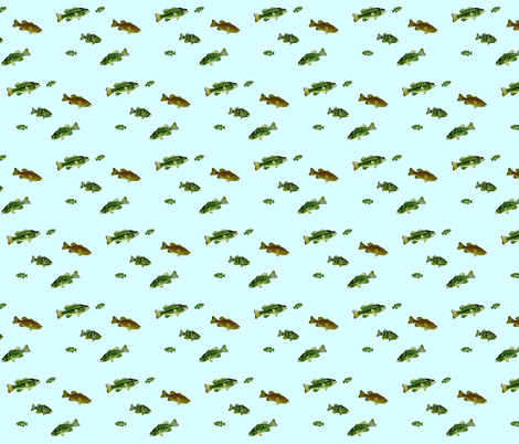 Bass and Sunfish sparse fabric by combatfish on Spoonflower - custom fabric