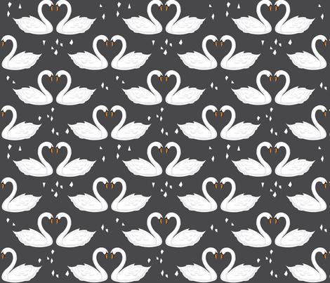 SwanFabricNEWCharcoal fabric by milchundhonig on Spoonflower - custom fabric