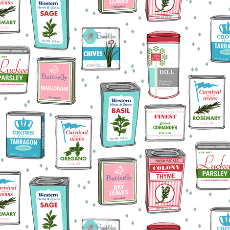 Spice Rack (White) || herb food kitchen packaging tins typography leaves diamonds illustration vintage retro Christmas holiday fabric by pennycandy on Spoonflower - custom fabric