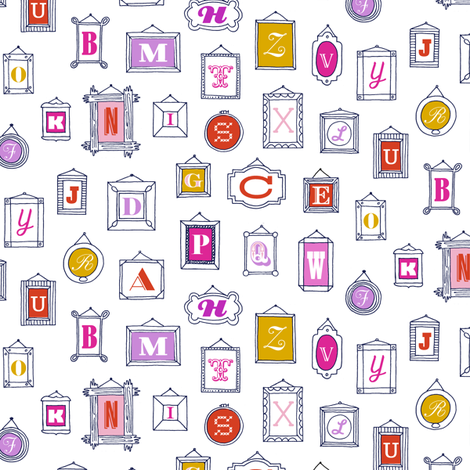 Hall of Letters* (Pinks on White) || typography gallery wall art picture frame alphabet abc illustration museum fabric by pennycandy on Spoonflower - custom fabric