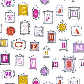 Hall of Letters* (Pinks on White) || typography gallery wall art picture frame alphabet abc illustration museum