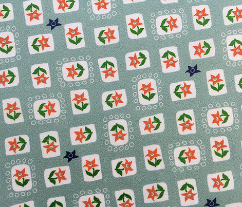 Ameraucana* (Camouflage) || flower floral leaves geometric organic star stamps vintage style feedsack feed sack