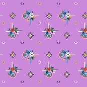 Campine* (Lavender Disaster) || vintage style feedsack feed sack diamond flower floral leaves scarf handkerchief bandana