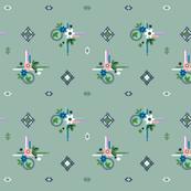 Campine* (Camouflage) || vintage style feedsack feed sack diamond flower floral leaves scarf handkerchief bandana