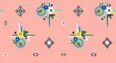 Campine* (Peach Halves) || vintage style feedsack feed sack diamond flower floral leaves scarf handkerchief bandana