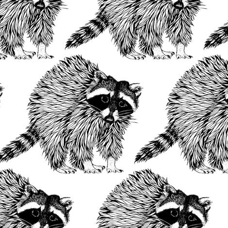 Raccoon Black n White fabric by pennyroyal on Spoonflower - custom fabric