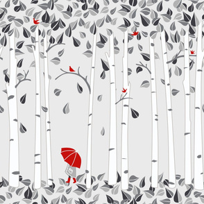 Red Umbrella/Birch Tree Wallpaper