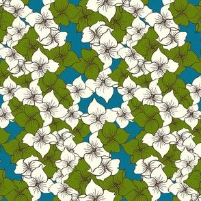 Dogwood Flowers in turquoise and green