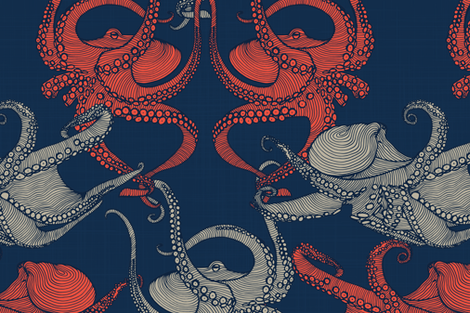Cephalopod - Octopi - Navy fabric by docious_designs_by_patricia_braune on Spoonflower - custom fabric