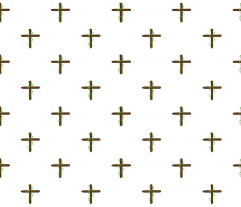 Cross with Ivy Wrap, White Background fabric by woolranch on Spoonflower - custom fabric