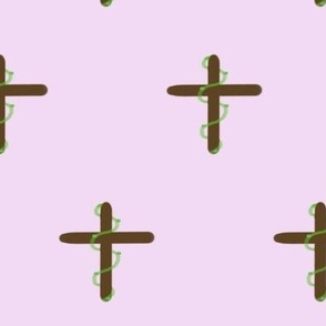 Cross with Ivy Wrap, Purple Background