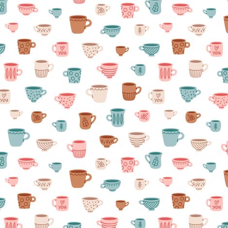 Cute mugs pattern fabric by stolenpencil on Spoonflower - custom fabric