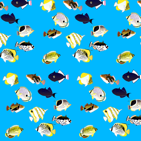 Butterflyfish and Triggers in blue fabric by combatfish on Spoonflower - custom fabric