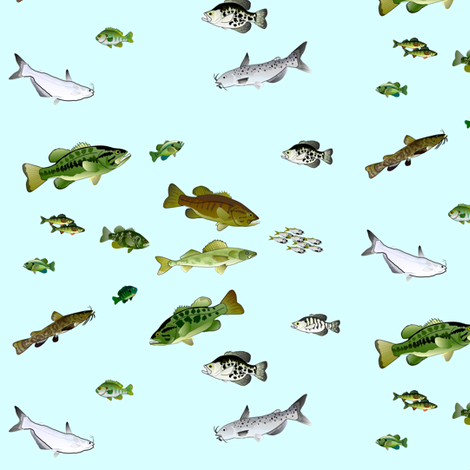 Lake Fishes Pattern on blue fabric by combatfish on Spoonflower - custom fabric