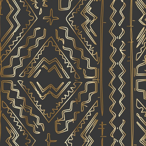 Gold Mudcloth mudcloth african on graphite