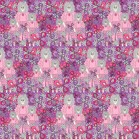 Magdalene The Drama Queen Gray Is Beautiful Victorian Lady, Birds and Flowers Fabric #1 fabric by lworiginals on Spoonflower - custom fabric