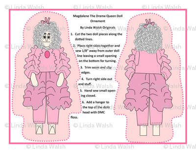 Magdalene The Drama Queen Cut and Sew Doll Ornament