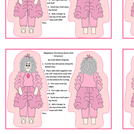 Magdalene The Drama Queen Cut and Sew Doll Ornament fabric by lworiginals on Spoonflower - custom fabric