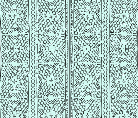 Mudcloth mudcloth traditional african design black on mint fabric by jenlats on Spoonflower - custom fabric