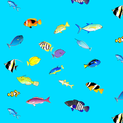 Pacific Coral Reef Fish scatter fabric by combatfish on Spoonflower - custom fabric