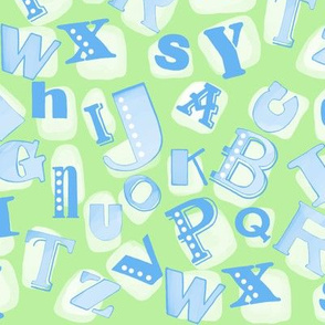 Alphabet in green and blue