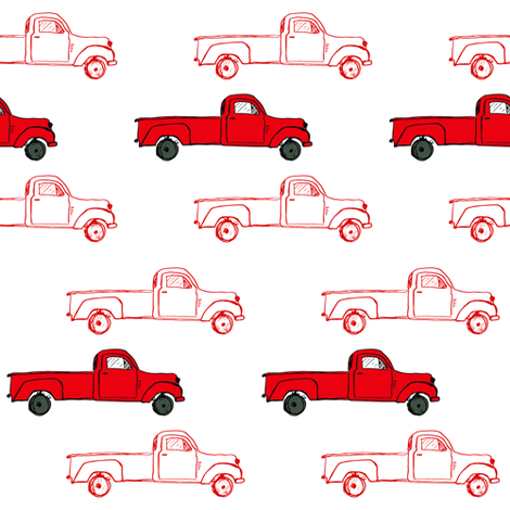 Vintage Red Truck fabric by shopcabin on Spoonflower - custom fabric