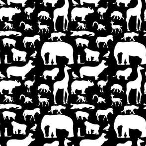 African Animals on Black