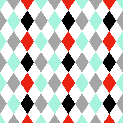 Red Aqua Gray Black Harlequin Mix and Match fabric by shopcabin on Spoonflower - custom fabric