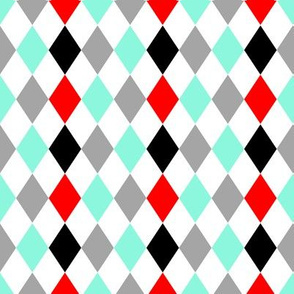 Red Aqua Gray Black Harlequin Mix and Match