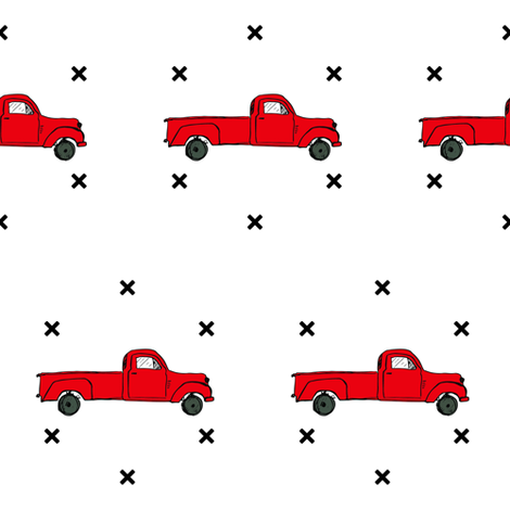 Vintage Red Truck & Xs fabric by shopcabin on Spoonflower - custom fabric