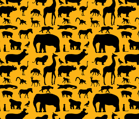 African Animals - Orange fabric by thinlinetextiles on Spoonflower - custom fabric