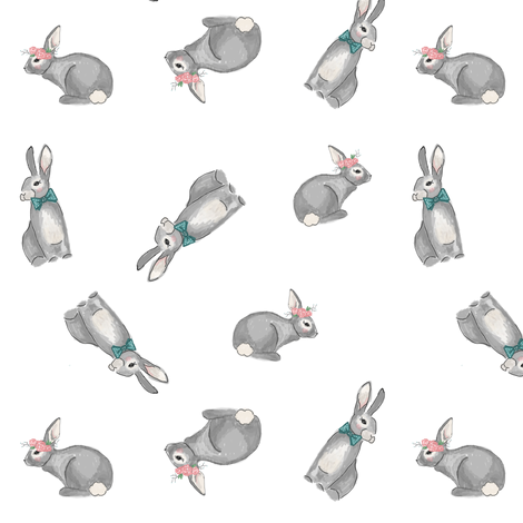 Bunnies fabric by averielaneboutique on Spoonflower - custom fabric