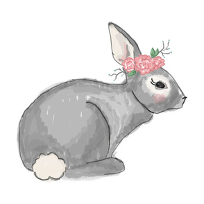 Bunny with Floral Crown - Pillow Front