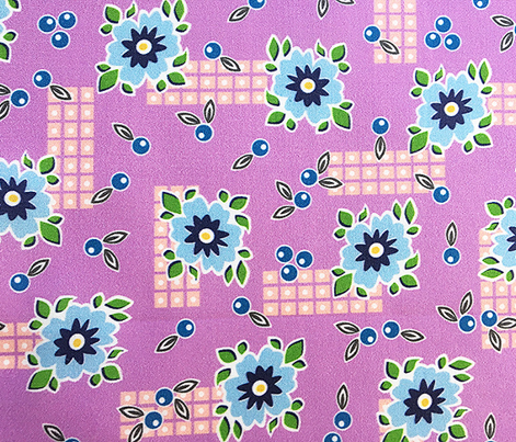 Welsummer* (Lavender Disaster) || vintage style feedsack feed sack flower floral leaves berries check geometric organic lattice garden