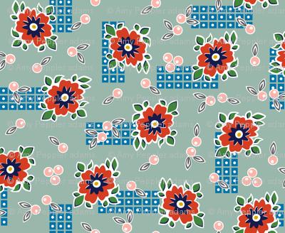 Welsummer* (Camouflage) || vintage style feedsack feed sack flower floral leaves berries check geometric organic lattice garden