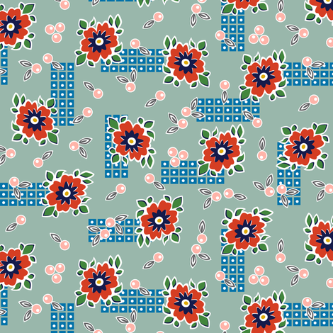 Welsummer* (Camouflage) || vintage style feedsack feed sack flower floral leaves berries check geometric organic lattice garden fabric by pennycandy on Spoonflower - custom fabric