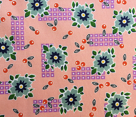 Welsummer* (Peach Halves) || vintage style feedsack feed sack flower floral leaves berries check geometric organic lattice garden